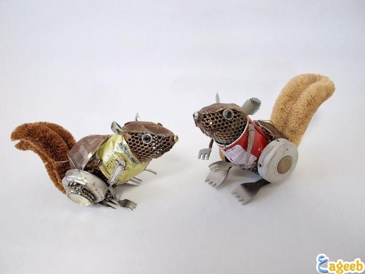 صور حيوانات مصنوعه من الخردة